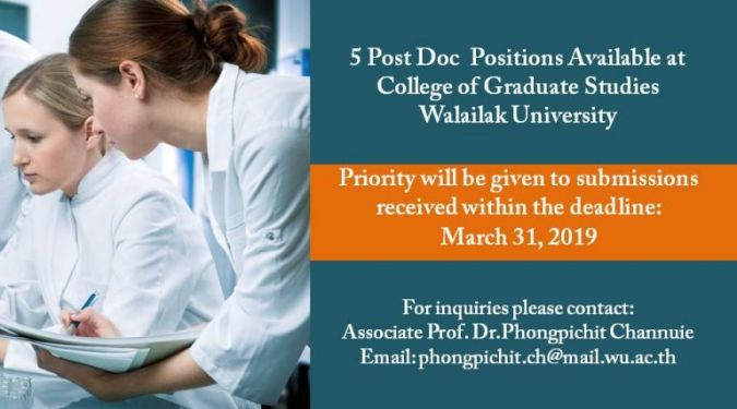 5 Post Doc Positions Available at College of Graduate Studies, Walailak University