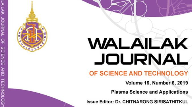 Walailak J Sci & Tech Vol 16 no 6 June 2019: Plasma Science and Application is published online