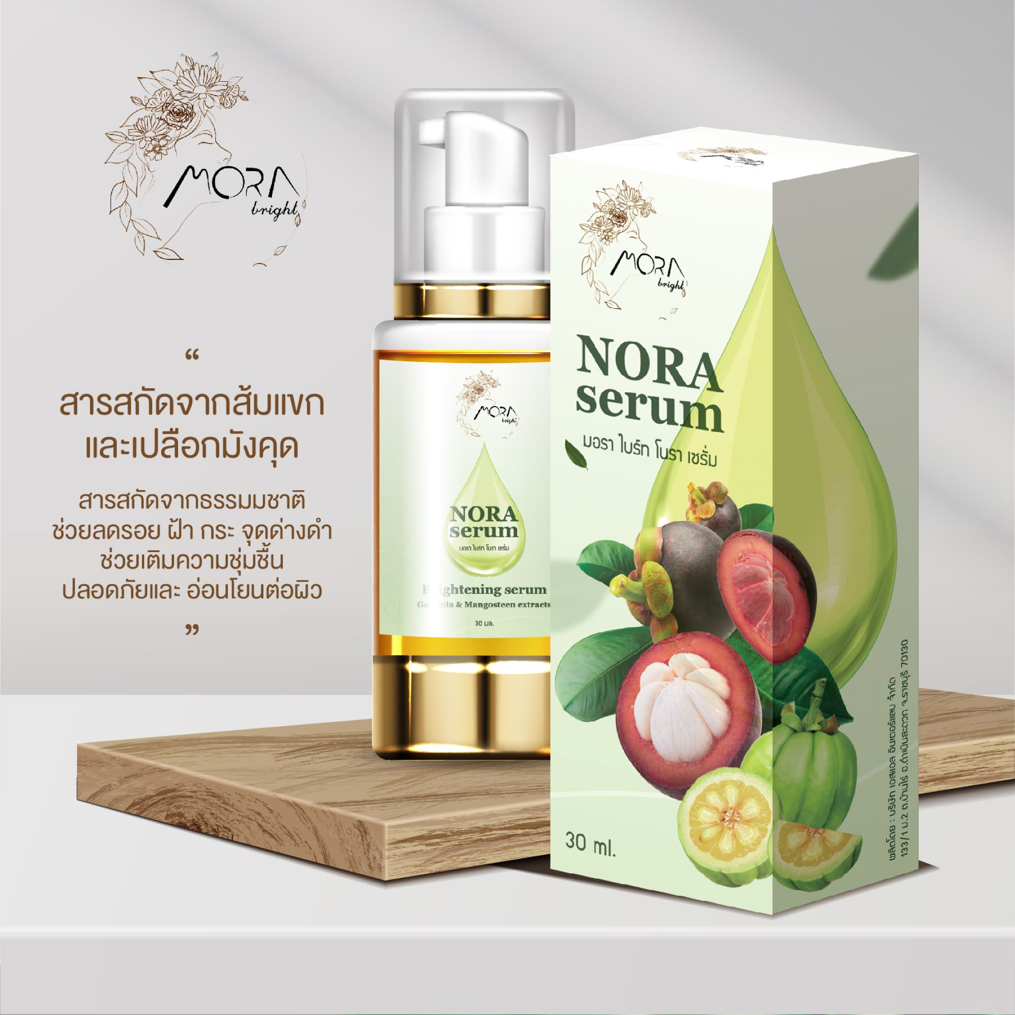 WU turning research into the commercial product Nora serum, a serum extracted from mangosteen and garcinia to help reduce wrinkles, melasma, freckles, and acne.